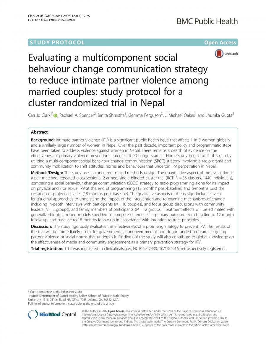 Cluster randomized study
