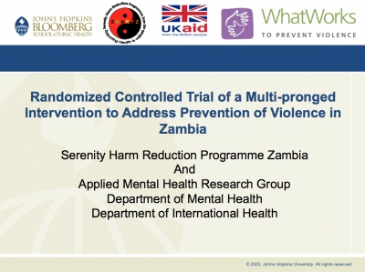 Randomized Controlled Trial of a Multi-pronged Intervention to Address Prevention of Violence in Zambia - SHARPZ, Zambia