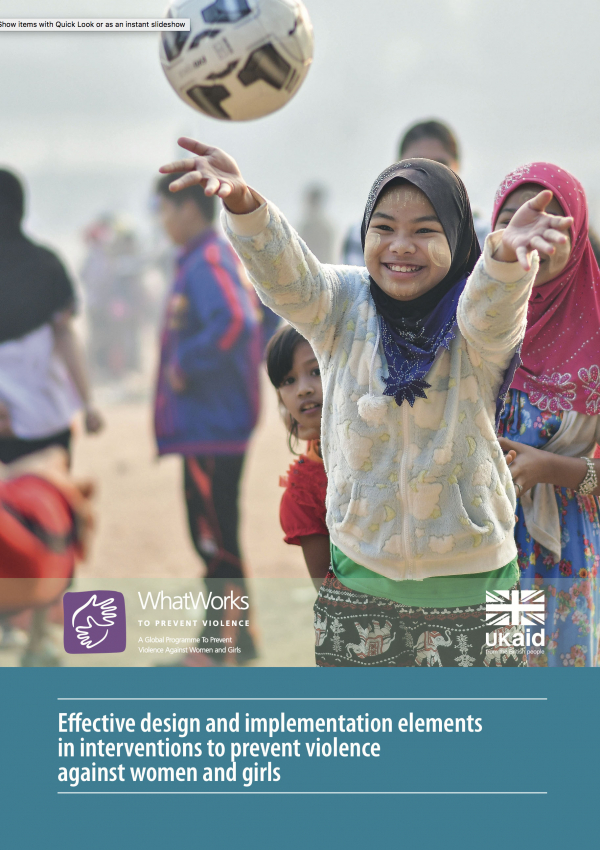 Effective design and implementation elements in interventions to prevent violence against women and girls