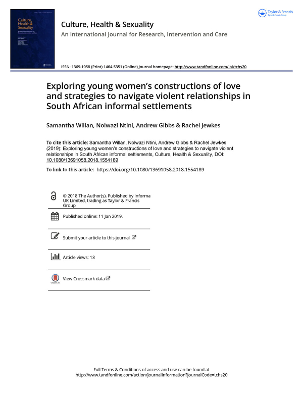 Exploring young women's constructions of love and strategies to navigate violent relationships in South African informal settlements