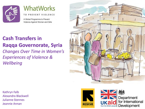 Cash Transfers in Raqqa Governorate, Syria - Changes Over Time in Women's Experiences of Violence & Wellbeing