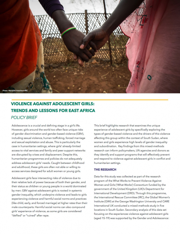 Violence Against Adolescent Girls: Trends and Lessons for East Africa