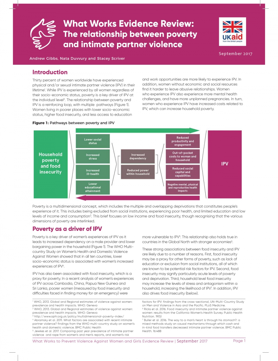What Works Evidence Review – The Relationship between Poverty and Intimate Partner Violence