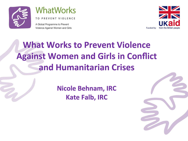 What Works to Prevent Violence Against Women and Girls in Conflict and Humanitarian Crises