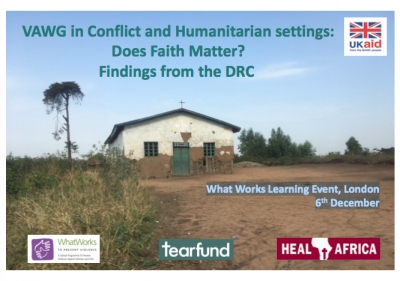 VAWG in Conflict and Humanitarian settings: Does Faith Matter? Findings from the DRC