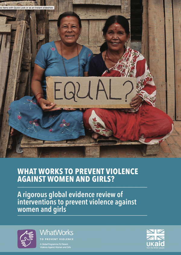A rigorous global evidence review of interventions to prevent violence against women and girls